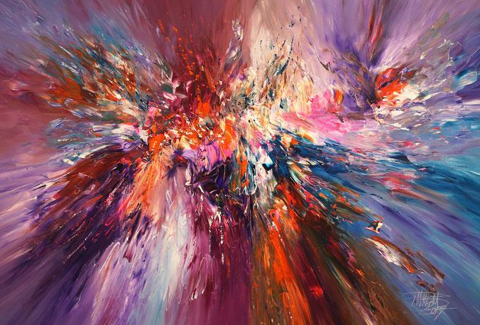 Abstraktes, modernes Gemälde rot