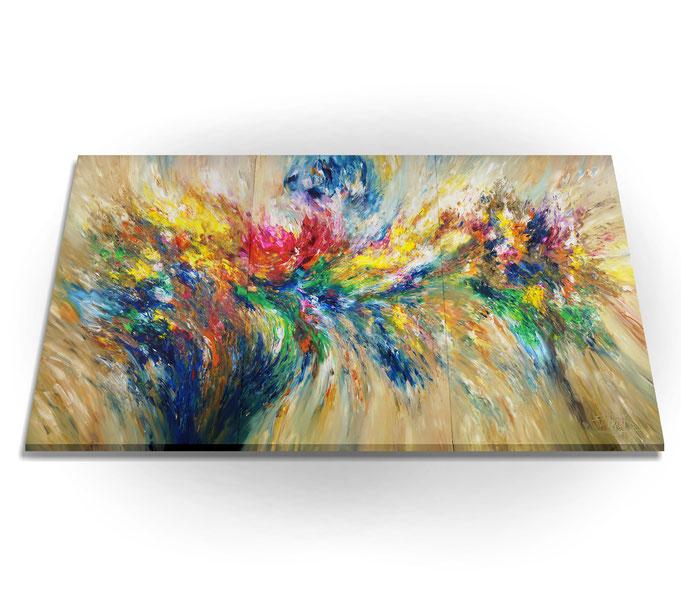 Seitenansicht: da die Kanten mitbemalt sind, braucht das Gemälde nur aufgespannt zu werden.  Es ist kein weiterer Rahmen erfroderlich.