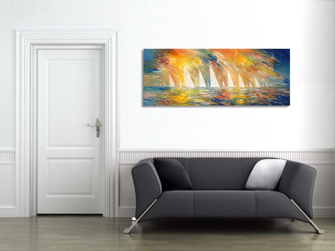 peter nottrott, Originalgemälde, acryl,  maritim, blau, segeln, Segelboote, Wind, Wasser, Wellen, Meer, Himmel
