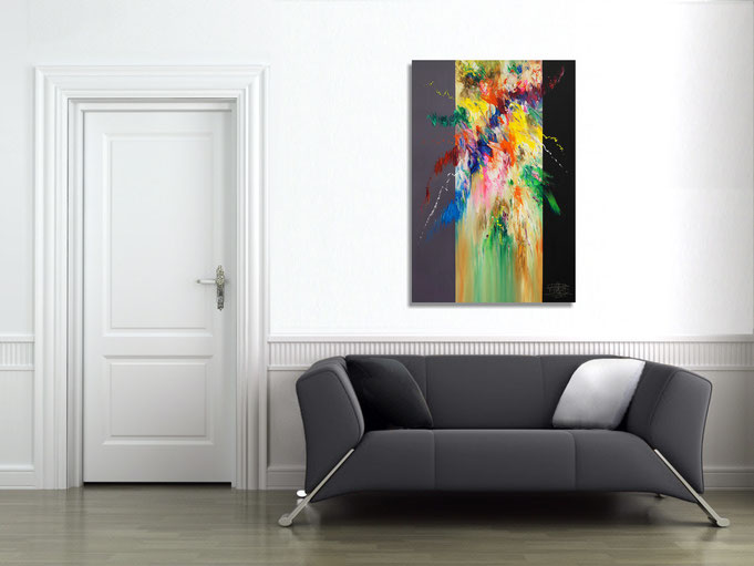 ... so wirkt das Gemälde im Raum