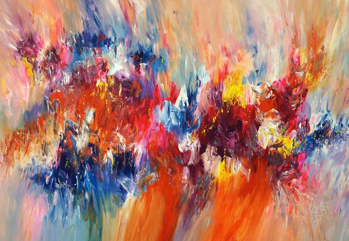 Abstraktes rotes Acrylbild fertig auf einen Keilrahmen gespannt.