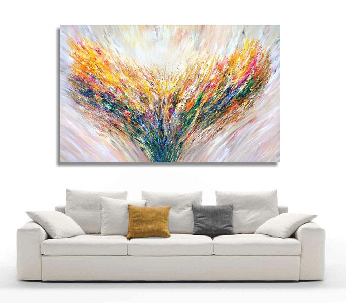 Raumbeispiel mit dem extrem großen, abstrakten Gemälde