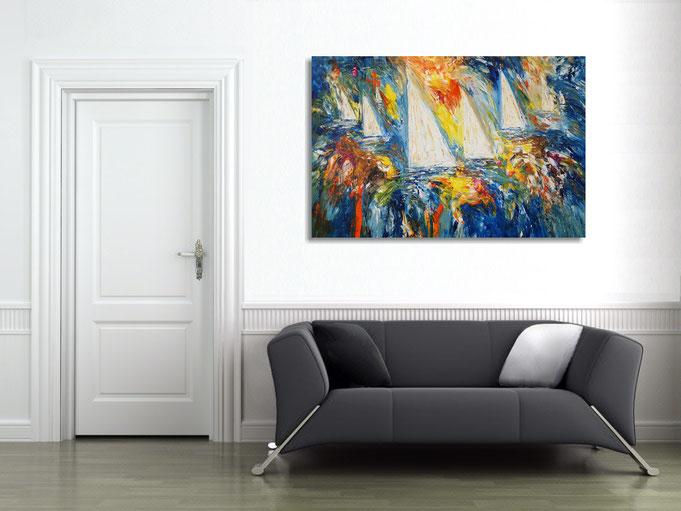 peter nottrott, Originalgemälde, acryl, blau,  maritim, Meer, Wasser, Wind, Wellen