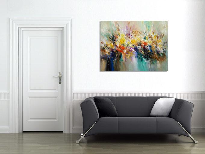 so entfaltet das Acrylgemälde seine Wirkung im Raum