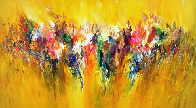 Großes, abstraktes Bild. Moderne Malerei in lebendigen, fließenden Farben.  Gelbtöne bilden den Hintergrund