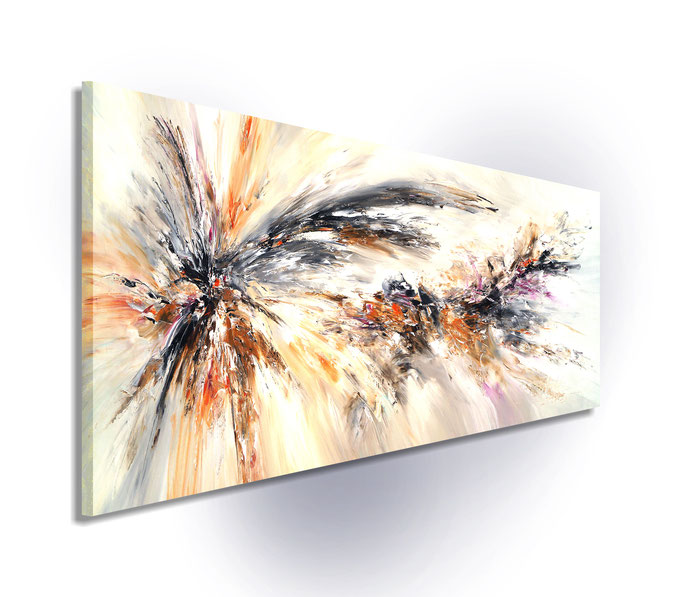 Seitenansicht des aufgespannten Gemäldes: einfach auspacken und aufhängen, da die Seiten mitbemalt sind.