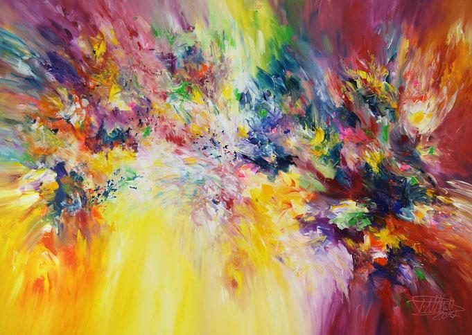 Farbenreiches, abstraktes Gemälde vom Hamburger Kunstmaler Peter Nottrott.