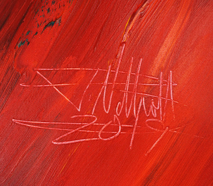 Signatur des Kunstmalers Peter Nottrott und Jahr der Entstehung