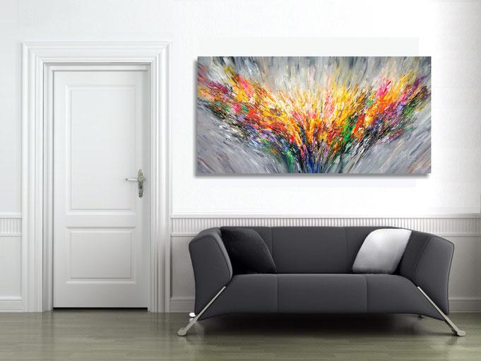 gelbes, abstraktes Farbspiel. Abstrakte Malerei.