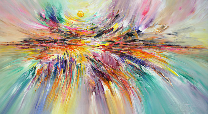 Abstraktes Acrylbild mit pink, orange, gelb und grün. Original Gemälde auf Leinwand.