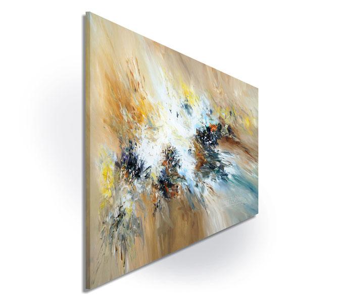 Seitenansicht: da die Seiten bemalt sind, kann das Gemälde einfach ausgepackt und aufgehängt werden.