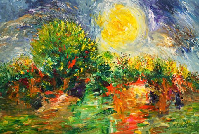 Landschaft Gemälde, moderne Kunst,  fertig auf einen Keilrahmen gespannt.