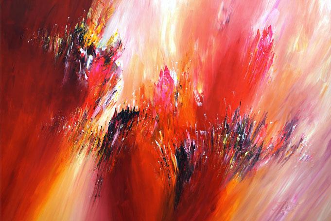 Rot: Abstraktes, modernes Gemälde. Original in Acrylfarben auf Leinwand.