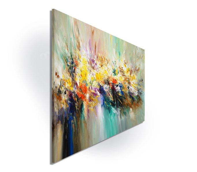 Da die Seiten mitbemalt sind, kann das Gemälde einfach ausgepackt und aufgehängt werden