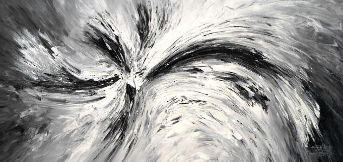 Großes, abstraktes Gemälde schwarz weiß