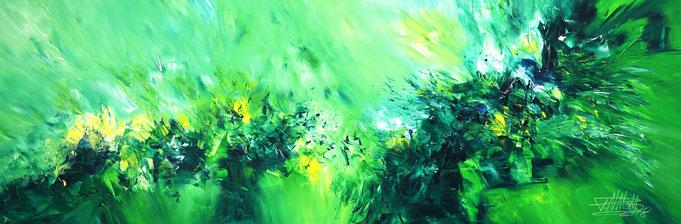grüne abstrakte Malerei. Modernes Gemälde