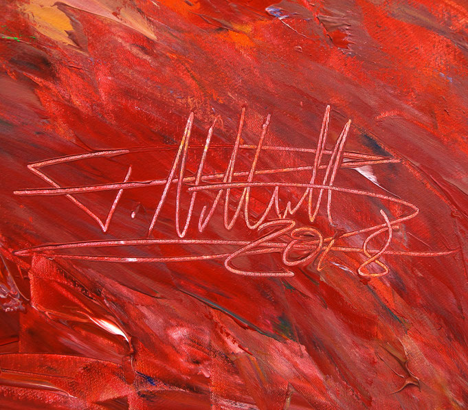 Signatur des Kunstmalers Peter Nottrott und Jahr der Entstehung: 2018