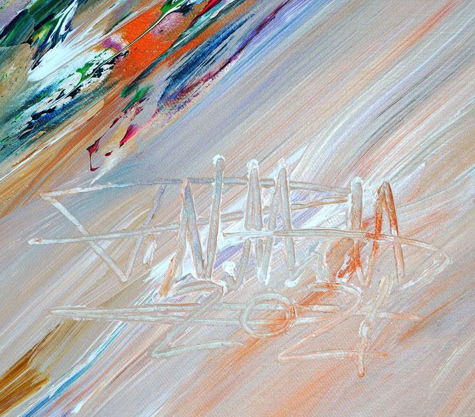 Signatur des Kunstmalers Peter Nottrott und Entstehungsjahr, unten rechts auf dem Gemälde
