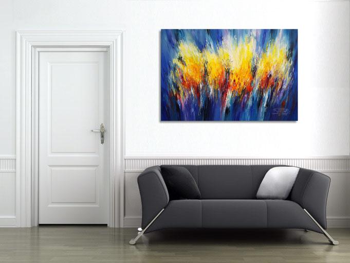 blau, acryl, Gemälde, Original, Kunst, modern