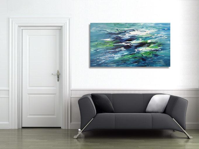 abstraktes Gemälde, Innendesign, Raumgestaltung