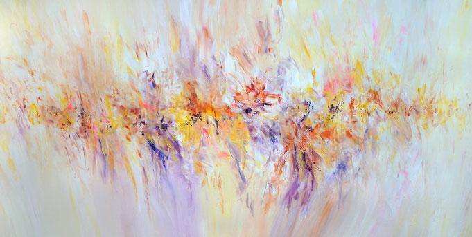 Abstraktes Acrylgemälde, pastellig