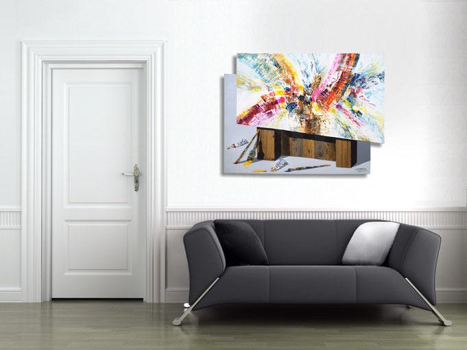 .. die Wandskulptur verleiht dem Raum eine indivuelle, besondere Atmosphäre