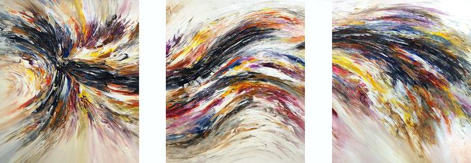 Abstraktes, modernes Gemälde in 3 Teilen