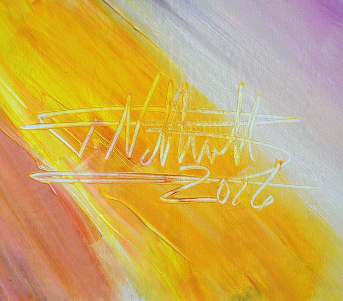 Signiert in gelber Acrylfarbe: Peter Nottrott
