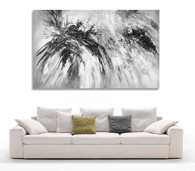 schwarz weiß,  abstraktes Gemälde