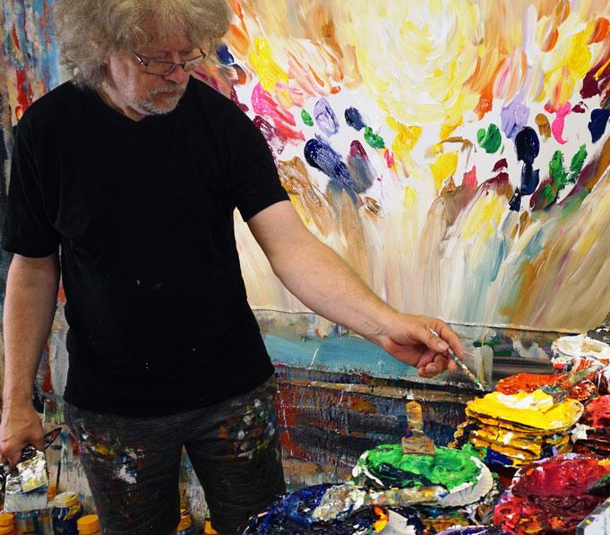 Momentaufnahme, wie das Gemälde von Peter Nottrott gemalt wird..