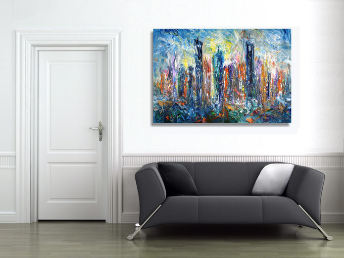 urbanes Gemälde, moderne Malerei, zeitgenössisches Kunstwerk, großes Bild