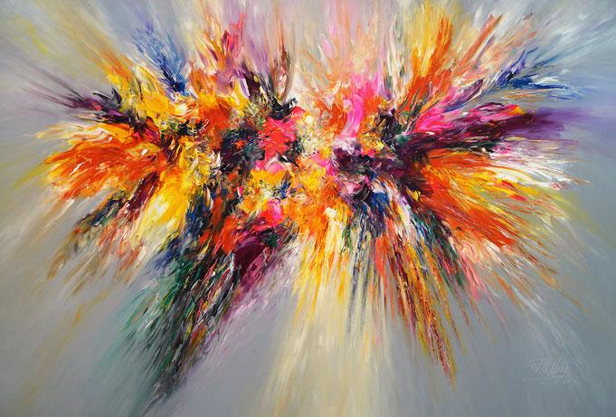 Abstrakte, moderne Malerei.  Großformat, Riesiges Acrylbild auf Leinwand.