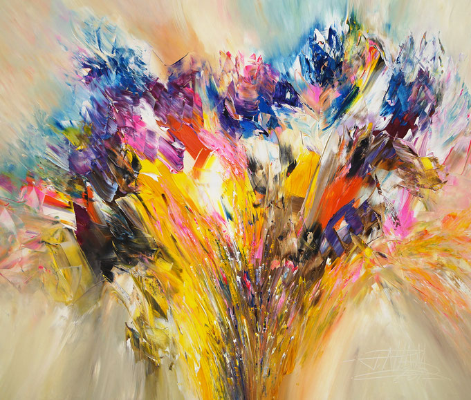 Abstraktes Acrylbild fertig auf einen Keilrahmen gespannt.
