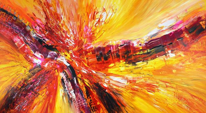 gelb rotes Acrylgemälde