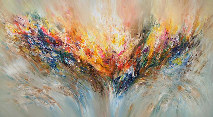 Großes, abstraktes Bild. Moderne Malerei in lebendigen, fließenden Farben.