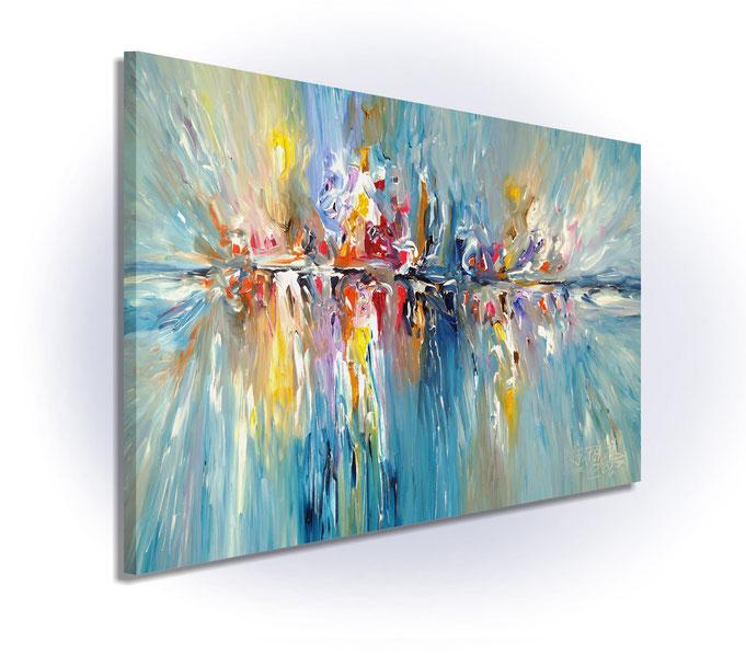 Gemäldeseitenansicht: da die Ränder mitbemalt sind, ist kein zusätzlicher Rahmen notwendig. Einfach auspacken und aufhängen.