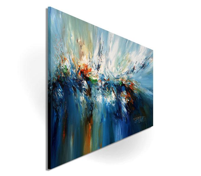 Da die Seiten mitbemalt sind, kann das aufgespannte Gemälde ohne zusätzlichen Rahmen aufgehängt werden.
