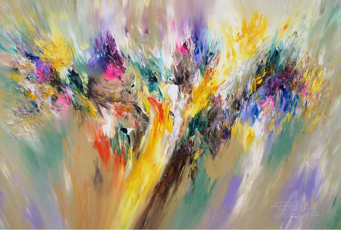 Abstraktes, modernes Gemälde. Original in Acrylfarben auf Leinwand.