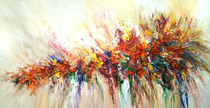 moderne Malerei, Abstraktes Acrylgemälde, rot