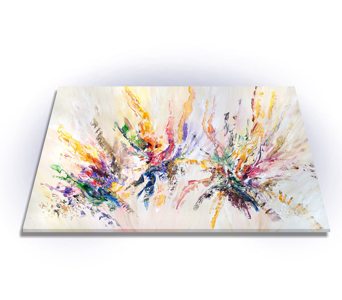 Da die Gemäldekanten mitbemalt sind, ist kein weiterer Rahmen notwendig.