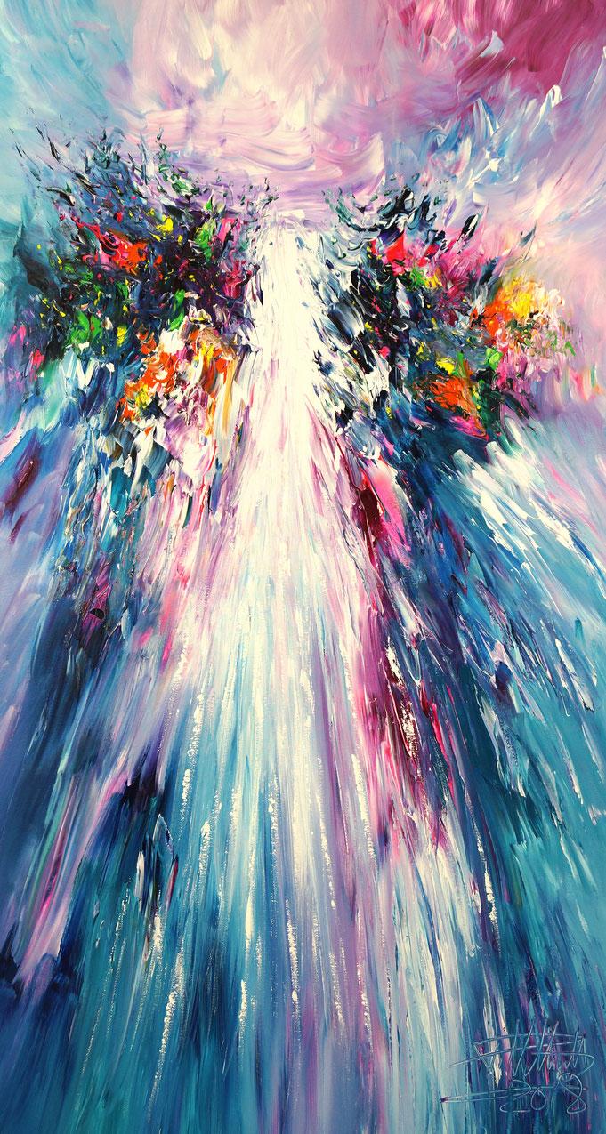 abstrahiertes Gemälde, Wasserfall, blau bunt, moderne Kunst,