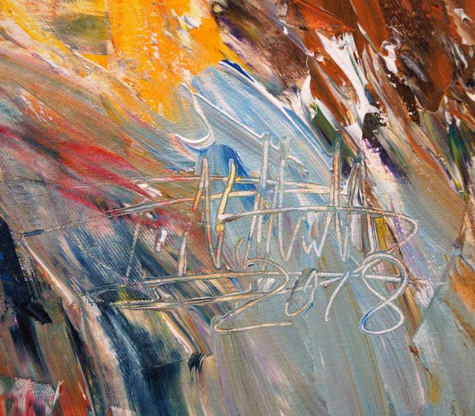 Signatur des Kunstmalers Peter Nottrott und Entstehungsjahr, auf dem Gemälde rechts unten