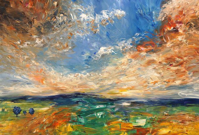 Landschaft Gemälde, abstrakt, blau, moderne Kunst,  fertig auf einen Keilrahmen gespannt.