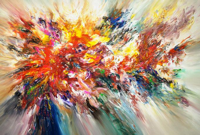 Abstraktes, modernes Gemälde. Rot buntes Original