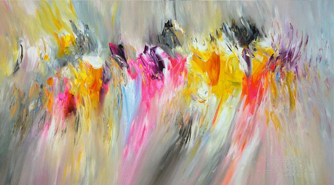 Abstraktes Acrylbild mit pink. Original Gemälde auf Leinwand.