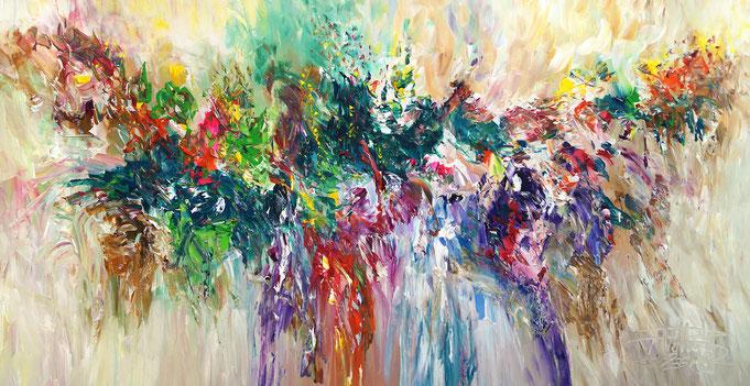 Moderne Malerei, Abstraktes Acrylgemälde, Garten - Inspiration