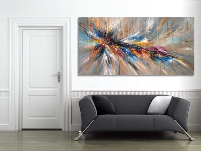 .. so wirkt das großformatige abstrate Gemälde an der Wand