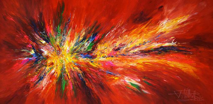 Rotes, abstraktes Acrylbild . Original Gemälde auf Leinwand.