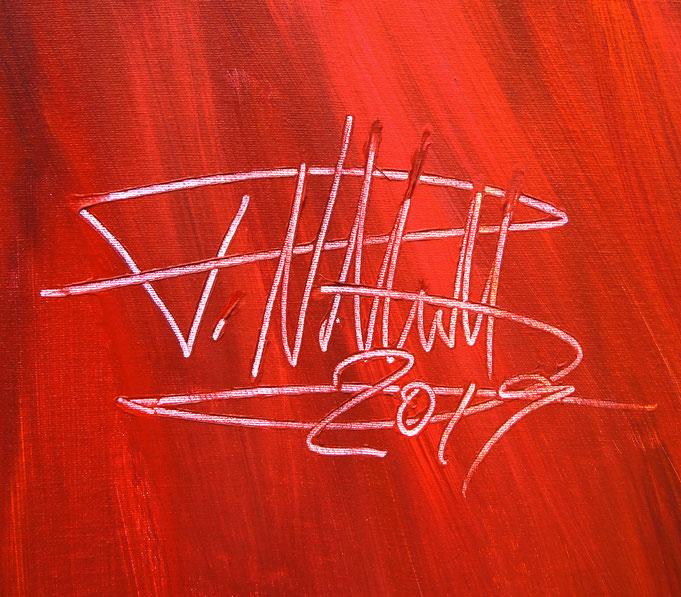 Signatur des Kunstmalers Peter Nottrott und Jahr der Entstehung: 2019
