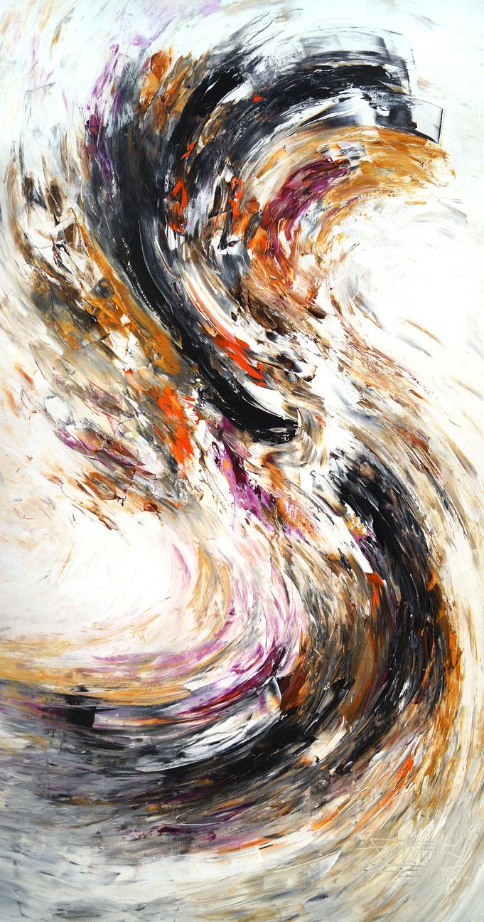 Großes, abstraktes Gemälde hochkant